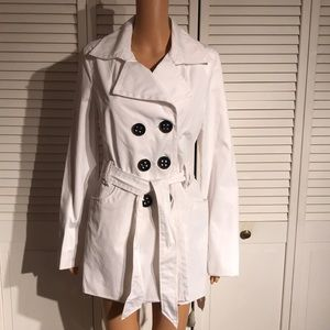 Express White Beltted Trench Coat
